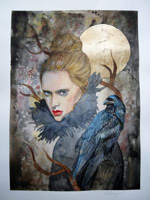 Ravenblue, Aquarell / Mixed Media auf Aquarellpapier, 2021, 30x40cm, Pia Staudacher, www.Lilyarts.de