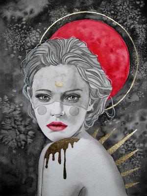 Red moon, Aquarell / Mixed Media auf Aquarellpapier, 2020, 24x32cm, Pia Staudacher, www.Lilyarts.de