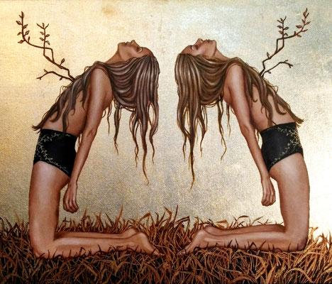 SOLD - Twins , Acryl und Schlagmetall auf Leinwand, 40x50cm, 2017, Lilyarts, Pia Staudacher