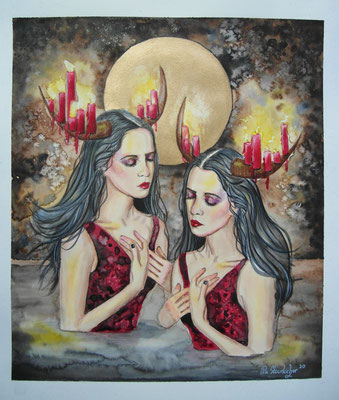fire twins, Aquarell / Mixed Media auf Aquarellpapier, 2020, 30x35cm, Pia Staudacher, www.Lilyarts.de