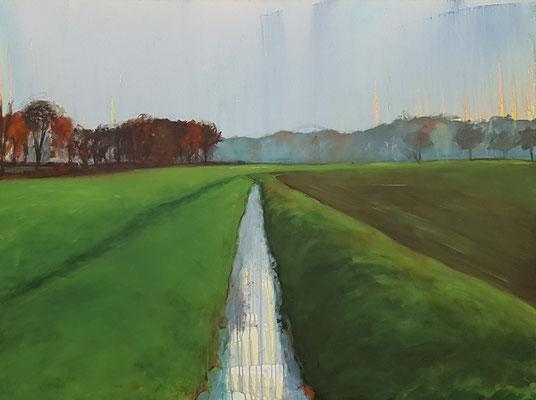 Wasserwerke - außen II, 2021, Acryl auf Leinwand, 120 x 160 cm