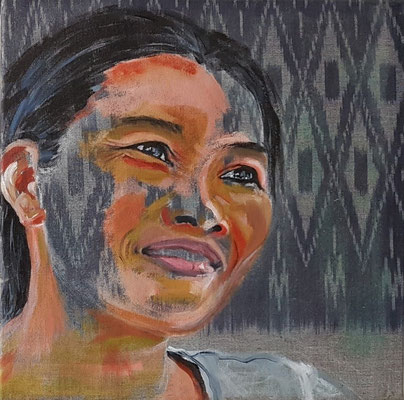 Holger & Boundeun, 2020, Diptychon Teil II, Acryl auf Leinwand, 50 x 50 cm