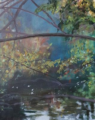 Wasserwerke - innen & außen III/1, 2021, Acryl auf Leinwand, 50 x 40 cm