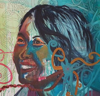 Jamie & Chin Ching, 2018, Diptychon Teil II, Acryl auf Leinwand, 50 x 50 cm