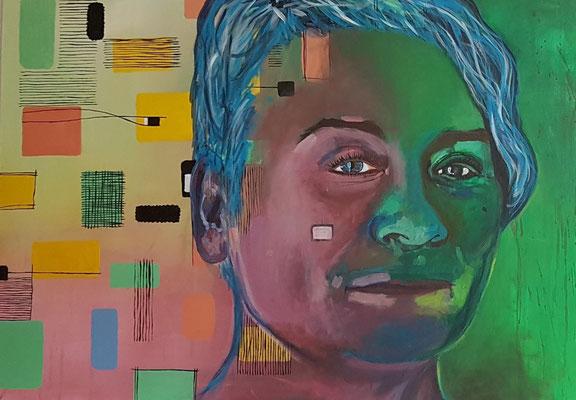 Karin & Ebi, 2012 - 2018, Diptychon Teil I, Acryl auf Leinwand, 60 x 80 cm