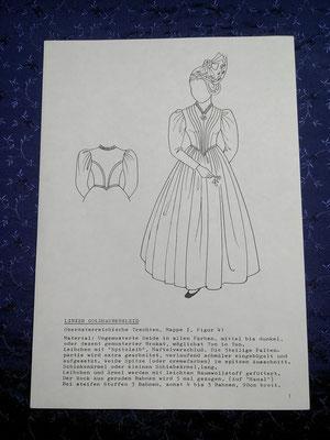 ORIGINAL LINZER GOLDHAUBENKLEID - FESTTAGSTRACHT <br>1. Modellbild aus dem oberösterreichischen Tracktenkatalog mit kurzer Beschreibung des Kleides