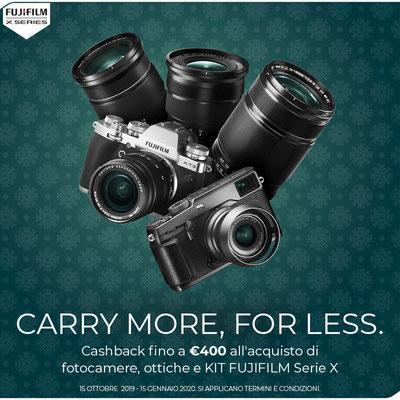 Nuovo Cashback Fujifilm dal 15 ottobre al 15 gennaio 2020