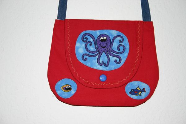 rote Mädchentasche mit Krake