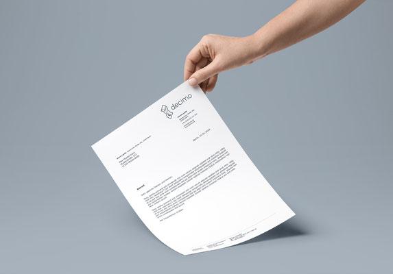 Portfolio Dorina Rundel - Grafikdesignerin: decimo Vorlage Briefpapier