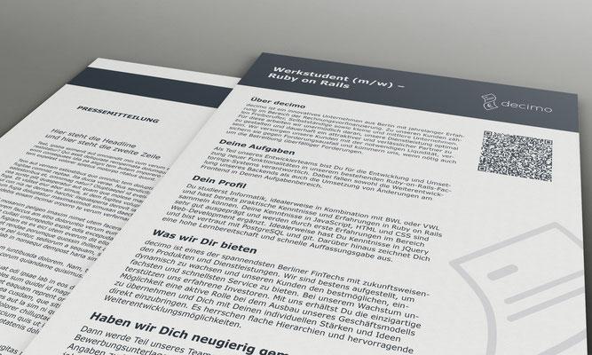 Portfolio Dorina Rundel - Grafikdesignerin: decimo Vorlagen Anzeige und Pressemitteilung
