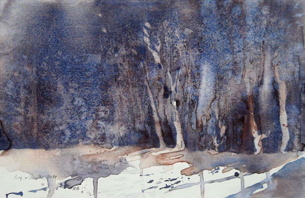 Regina Wuschek, Waldlichtung, Aquarell
