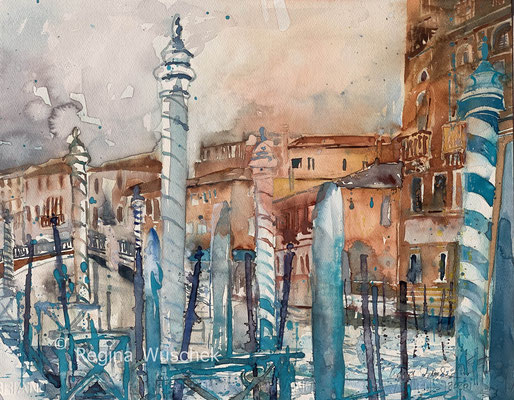 Regina Wuschek, Venezia, Canal de Cannaregio, Aquarell, 2020, 38 x 49, auf Artistico Fabriano