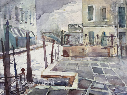 Regina Wuschek, Venezia, Murano, Fondamenta Daniele Manin, Aquarell, 2020, 38 x 51, auf Artistico Fabriano