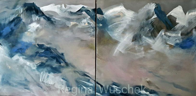 """Bergblau"", 2 x 80x80, Öl auf Leinwand, Regina Wuschek"