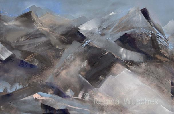 """""""BERGBLAU"""", 80x120, Öl auf Leinwand, Regina Wuschek"""