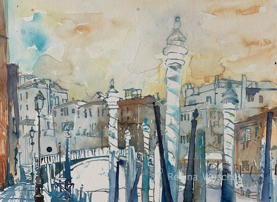 Regina Wuschek, Venezia, Ponte Guglie, Aquarell, 2020, 38 x 51, auf Artistico Fabriano