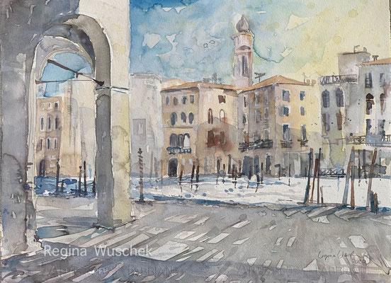 Regina Wuschek, Venezia, Naranzaria, Blick auf den Canal Grande, Aquarell, 2020, 38 x 51, auf Artistico Fabriano