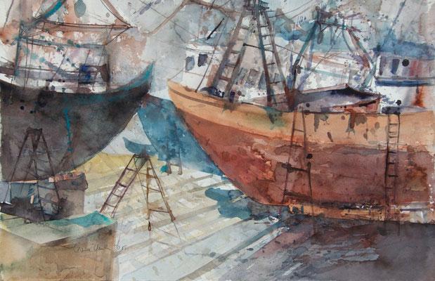 Regina Wuschek, Hafen in Essaouira, Aquarell