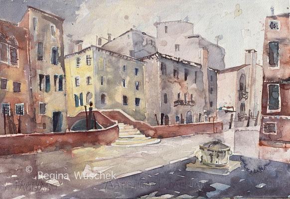 Regina Wuschek, Venezia, Cannaregio,  Aquarell, 2020, 32 x 47, auf Artistico Fabriano