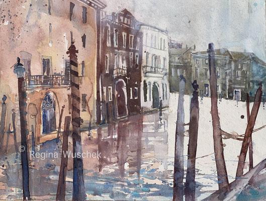 Regina Wuschek, Venezia, Canal de Cannaregio, Aquarell, 2020, 38 x 51, auf Artistico Fabriano