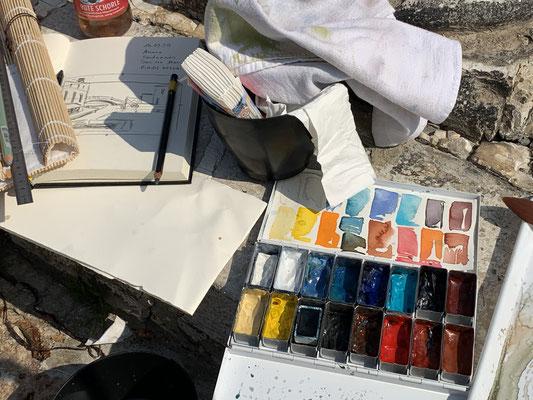 meine Aquarellfarben, extra einsortiert für die Farben von Venedig