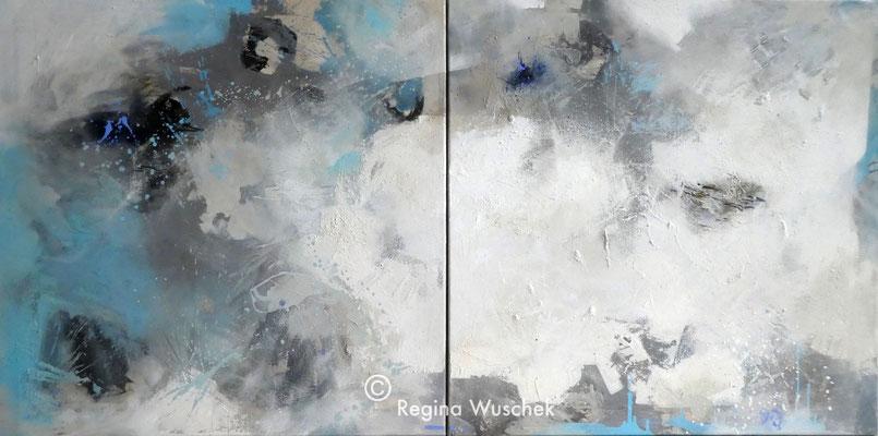 """""""Licht"""", 2 x 80x80, Acryl und Pigment auf Leinwand, Regina Wuschek"""