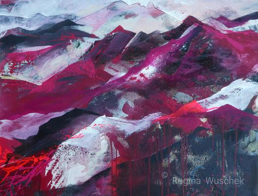 """""""Pink Mountain"""", 80x100, Mixed Media, Regina Wuschek"""