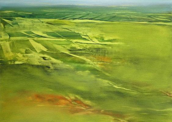 2018 Öl auf Karton, Landschaft in Grün