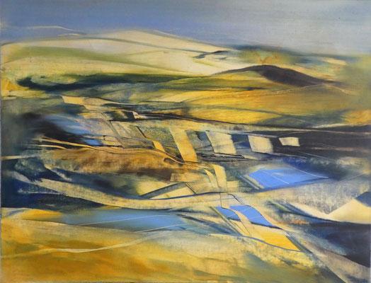 2018 Öl auf Leinwand, Landschaft in BlauGelb