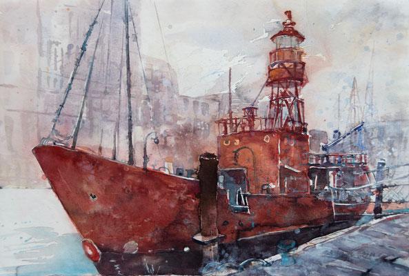 Regina Wuschek, Feuerschiff, Aquarell
