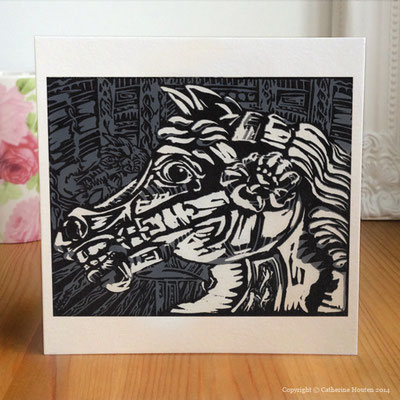 47. Lino Cut of Horses head