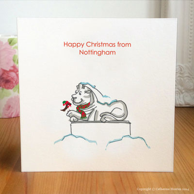 72. Nottingham's Right Lion and Robin Christmas Card