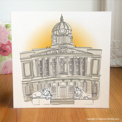 76. Nottingham Council House, sunshine, lions and pigeons