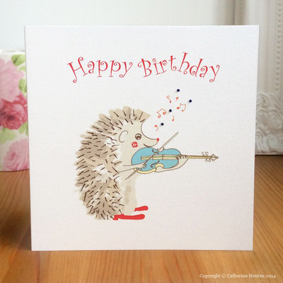 17. Hedgehog Violin player from the Story Book range with gems