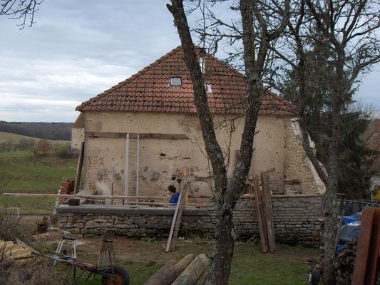 overdekt terras (houthok of aanbouw) tijdens