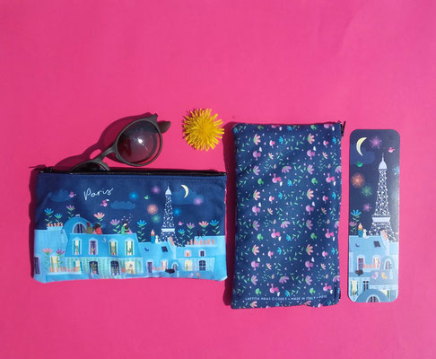 Pouch and bookmark illustrated by Laetitia HAAS