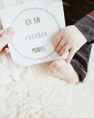 Baby Meilensteinkarte 9 Monate