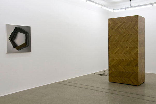 'Subject: Free' (solo exhibition) on the right: 'The Performance' found photo, parquet, MDF, paint and sound system, 2010