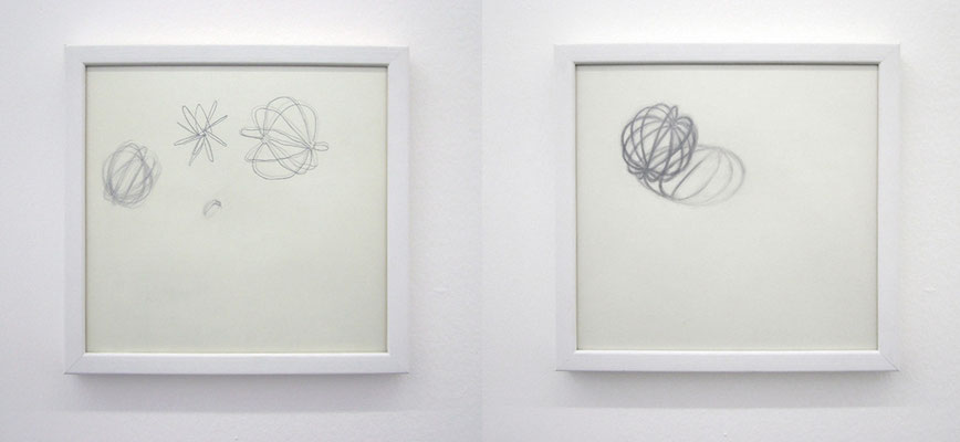 'World I and II' 28x28cm x2 (framed) graphite on paper, 2008