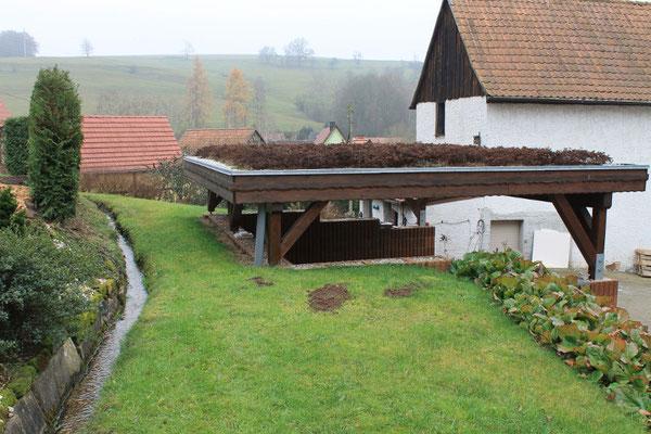 Carport mit Hangbefestigung und Dachbegrünung