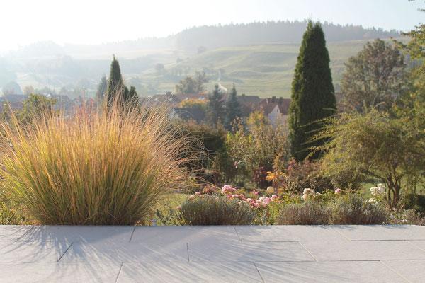 Terrasse im Morgennebel