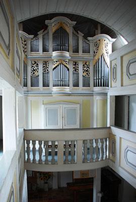Kirche Hainichen, Empore mit Gerhard-Orgel