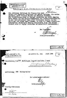 Transport Auschwitz-Kfg Juli44 Archiv Deiler