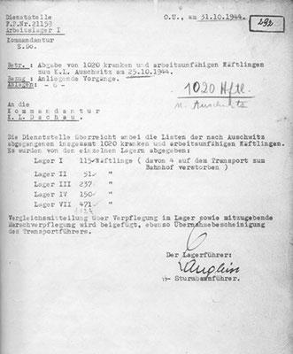 Abgabeliste Auschwitz Archiv Deiler