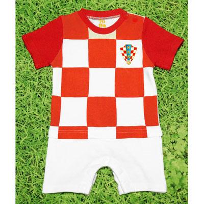サッカークロアチア代表のベビー服、ショートオール・ロンパース