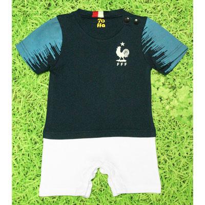 サッカーワールドカップ優勝フランス代表のベビー服、ショートオール・ロンパース