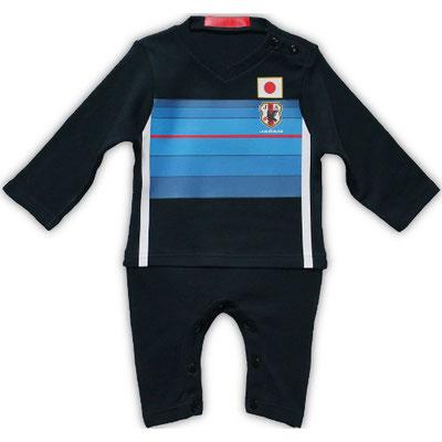サッカー日本代表のベビー服、カバーオール、長そで