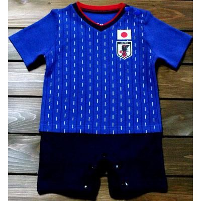 サッカー日本代表の勝色ベビー服、ショートオール・ロンパース2018