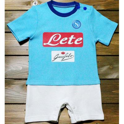 ナポリのサッカーユニフォームみたいなベビー服、ショートオール
