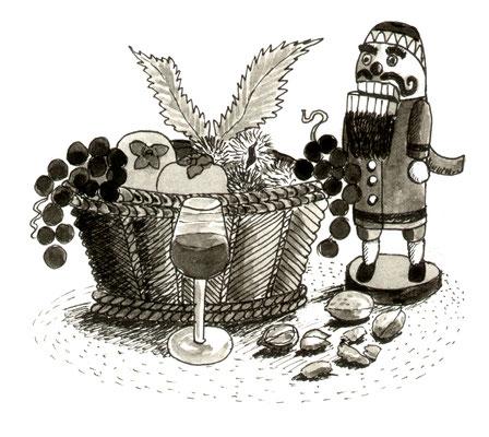 Illustration, Comics, lustig, witzig, Nussknacker, Nüsse, Trauben , Herbst,